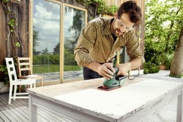 Bosch DIY Multischleifer PSM 200 AES, 2 Schleifpapiere K 80, Rechteckige Schleifplatte, Koffer (200 W, Schwingzahl 6.000 – 26.000 min-1, Schleiffläche rechteckig 164 cm² (92 x 182 mm)) -